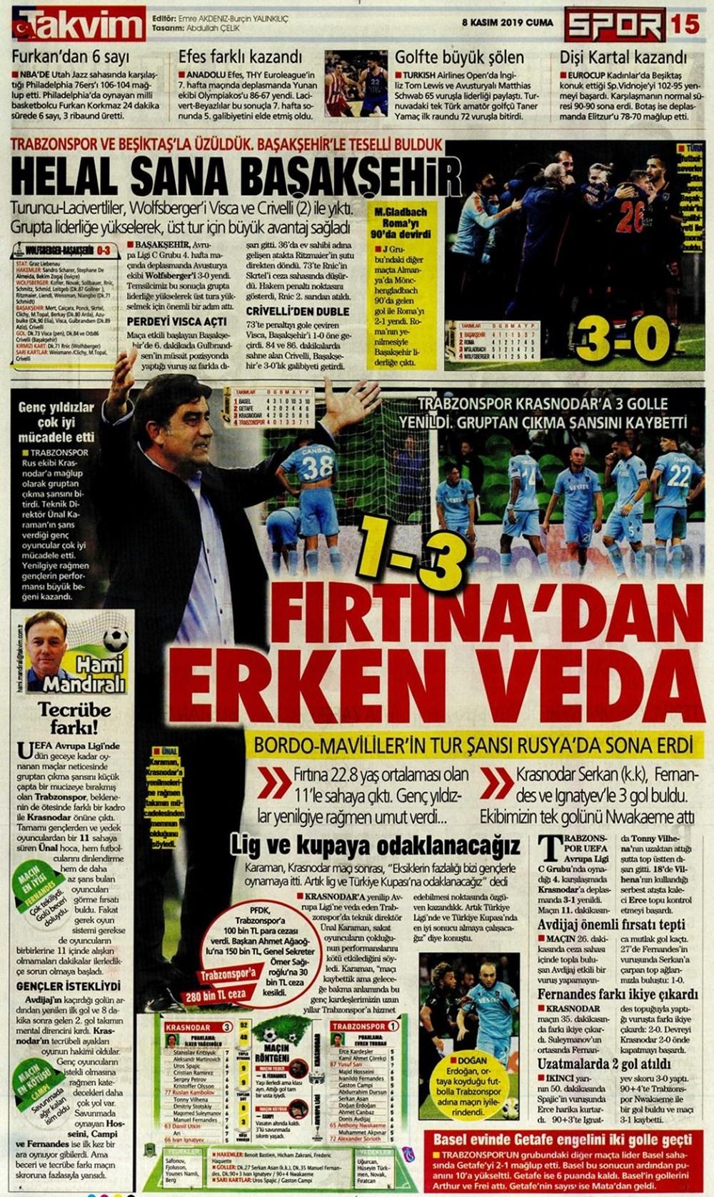 """Günün spor manşetleri (8 Kasım 2019) """"Galatasaray S.O.S veriyor&quo 1"""