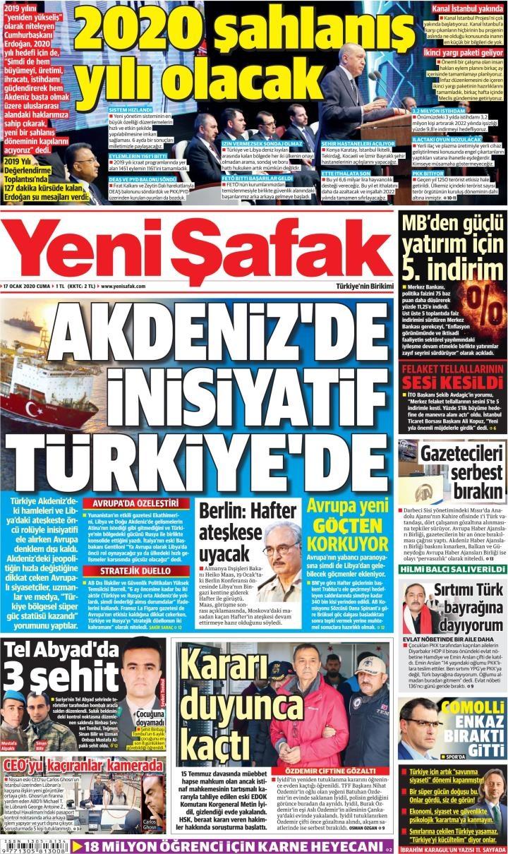 Gazeteler bugün ne yazdı? (17 Ocak 2020 Gazete manşetleri) 1