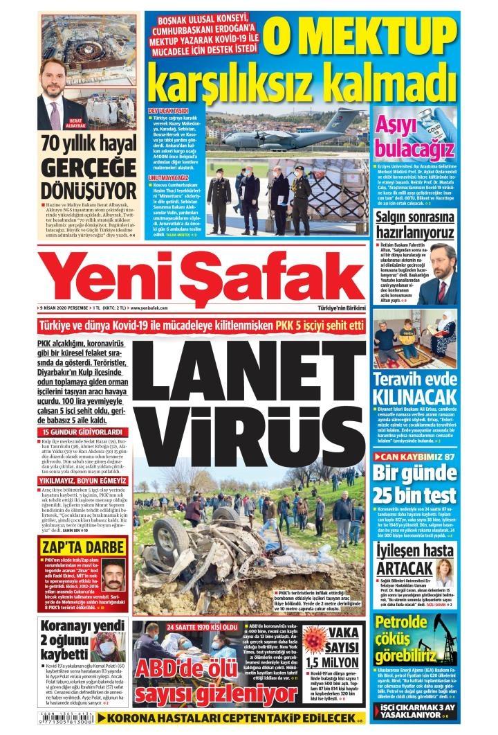 Gazeteler bugün ne yazdı? 9 Nisan Gazete Manşetleri 1