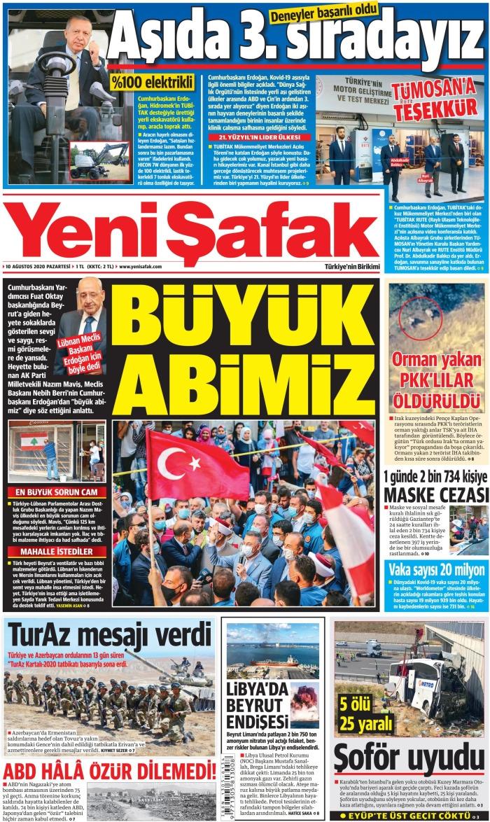 Günün  Gazete Manşetleri 10 Ağustos 2020 1