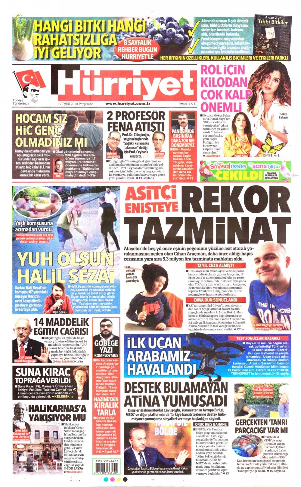 Günün  Gazete Manşetleri 17 Eylül 2020 1