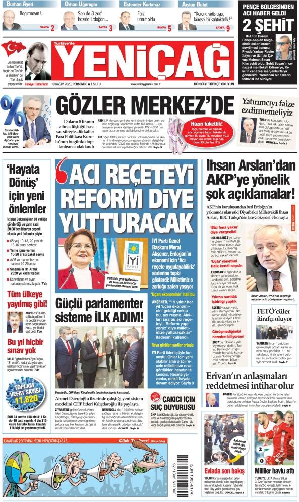 Günün Gazete Manşetleri 19 Kasım 2020 Gazeteler Ne Diyor? 1