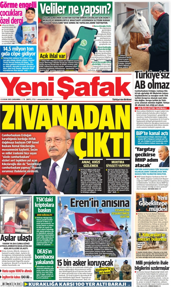 Günün Gazete Manşetleri 13 Ocak 2021 Gazeteler Ne Diyor? 1