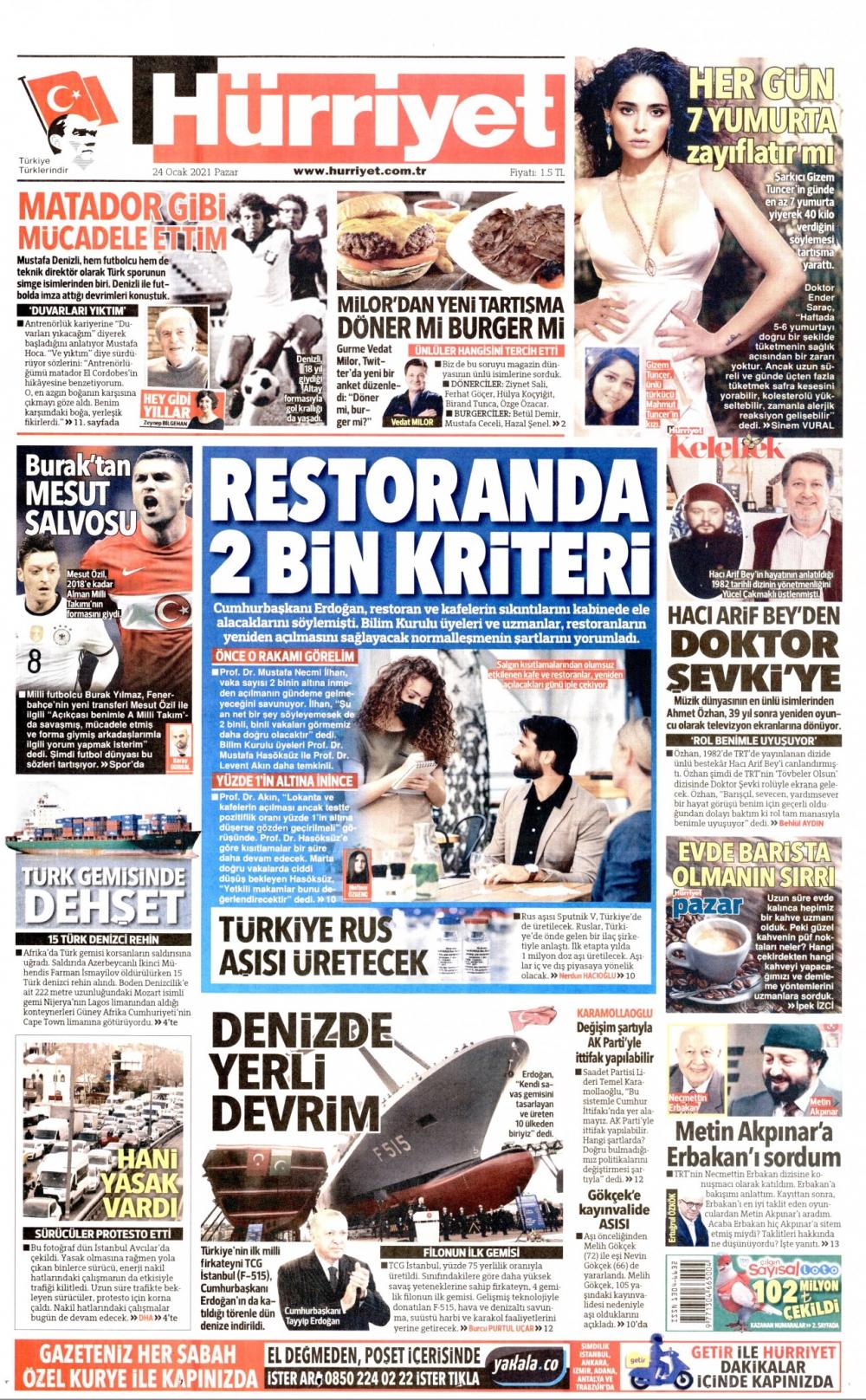 Günün Gazete Manşetleri 24 Ocak 2021 Gazeteler Ne Diyor? 1