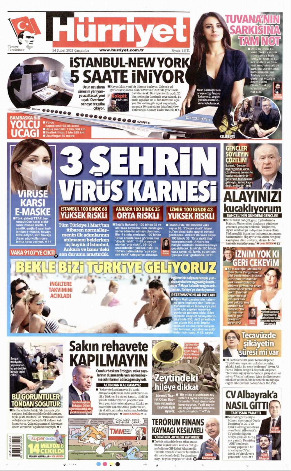 Günün Gazete Manşetleri 24 Şubat 2021 Gazeteler Ne Diyor? 1