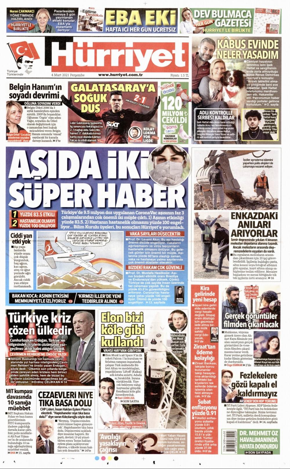 Günün Gazete Manşetleri 4 Mart 2021 Gazeteler Ne Diyor? 1