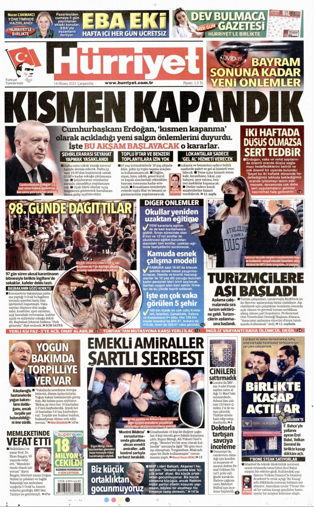 Günün Gazete Manşetleri 14 Nisan 2021 Gazeteler Ne Diyor? 1