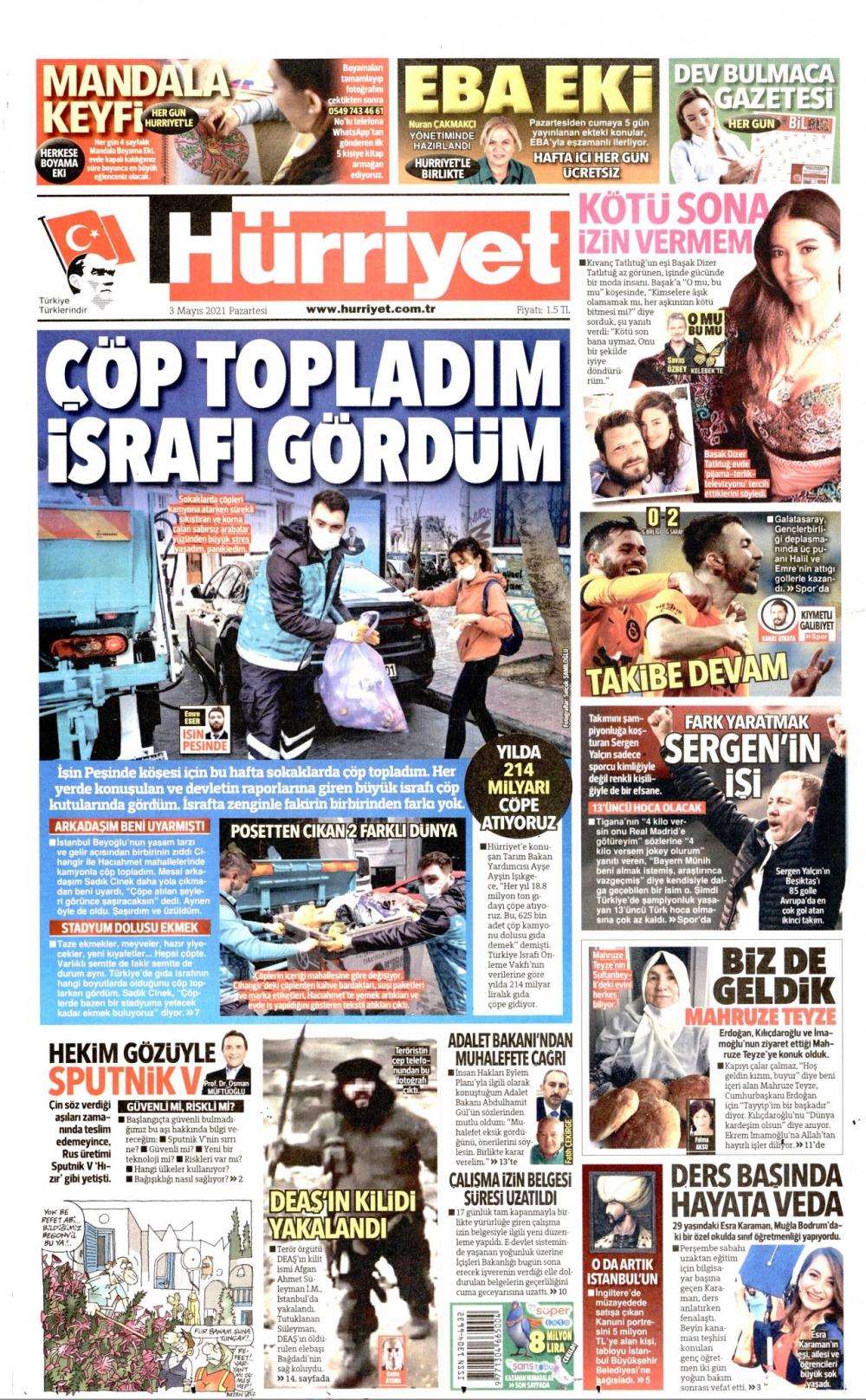 Günün Gazete Manşetleri 3 Mayıs 2021 Gazeteler Ne Diyor? 1