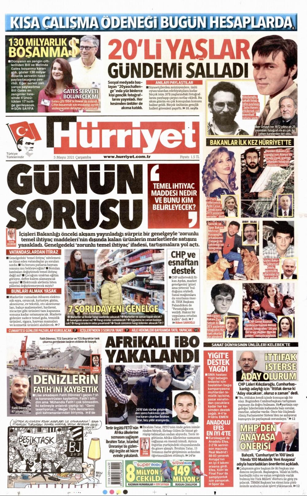 Günün Gazete Manşetleri 5 Mayıs 2021 Gazeteler Ne Diyor? 1