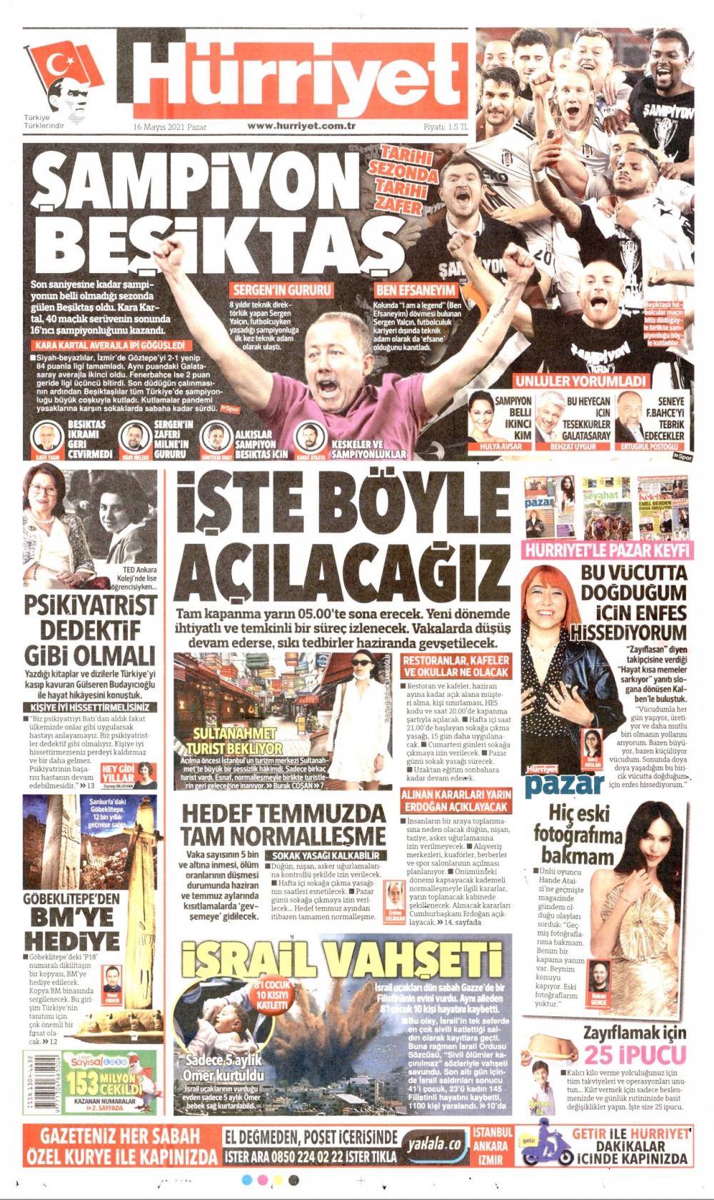 Günün Gazete Manşetleri 16 Mayıs 2021 Gazeteler Ne Diyor? 1