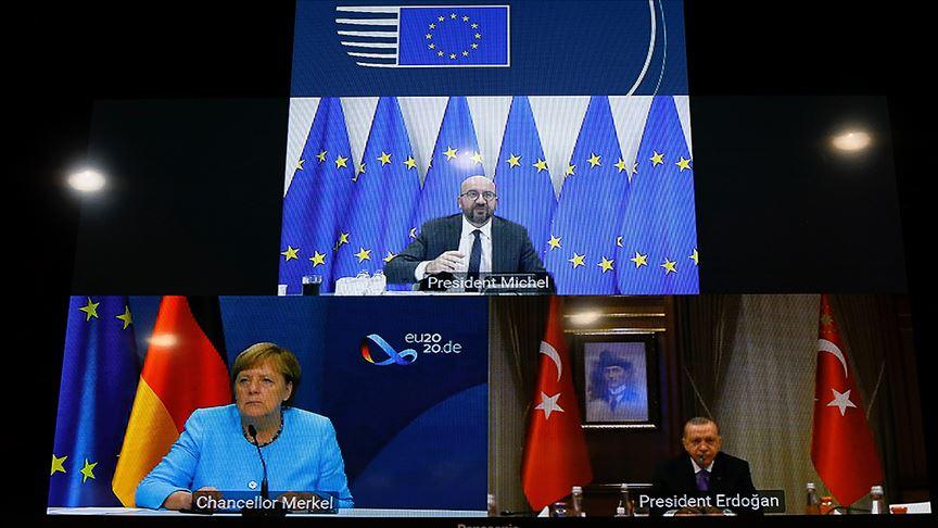 Cumhurbaşkanı Erdoğan, Michel ve Merkel Doğu Akdeniz'i görüştü