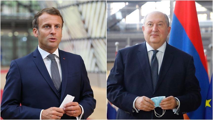 Macron, Paris'te Ermenistan Cumhurbaşkanı Sarkisyan ile görüştü