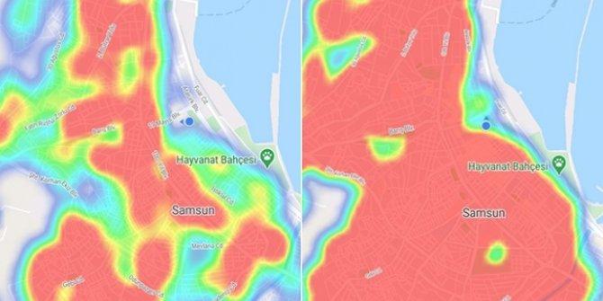 Samsun'da koronavirüs haritası kıpkırmızı oldu
