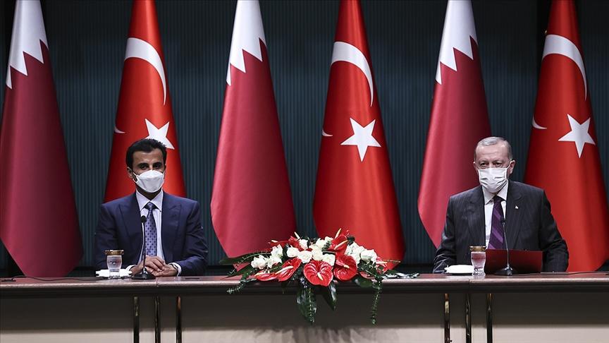 Erdoğan, Katar Emiri Al Sani ile Millet Kütüphanesi'ni gezdi