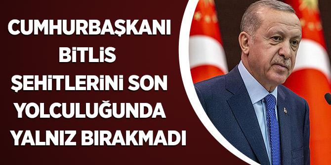 Cumhurbaşkanı Erdoğan Bitlis Şehitlerini Son Yolculuğunda Yalnız Bırakmadı
