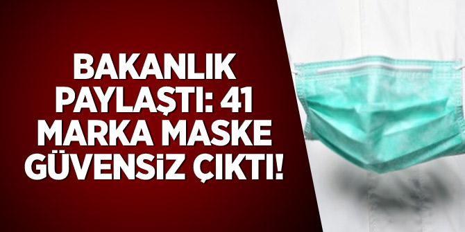 Bakanlık paylaştı: 41 marka maske güvensiz çıktı