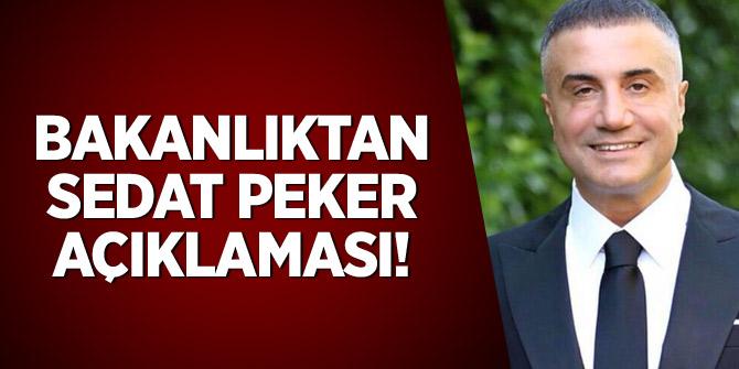 Bakanlıktan Sedat Peker açıklaması