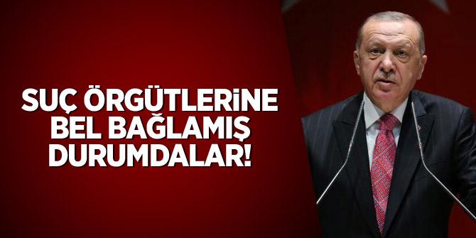 Erdoğan: Suç örgütlerine bel bağlamış durumdalar