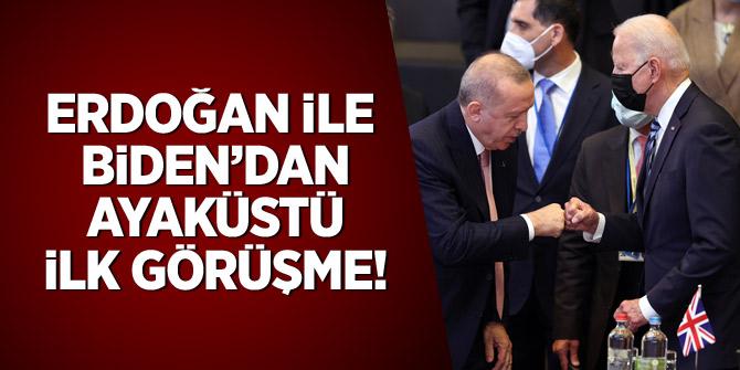 Erdoğan ile Biden'dan ayaküstü ilk görüşme