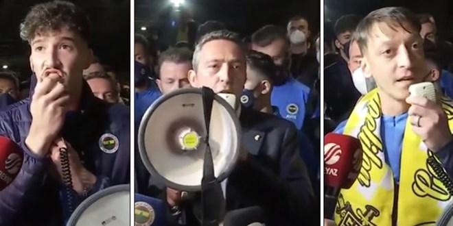 Ali Koç, Mesut Özil ve Altay, megafonla taraftarlara seslendi!