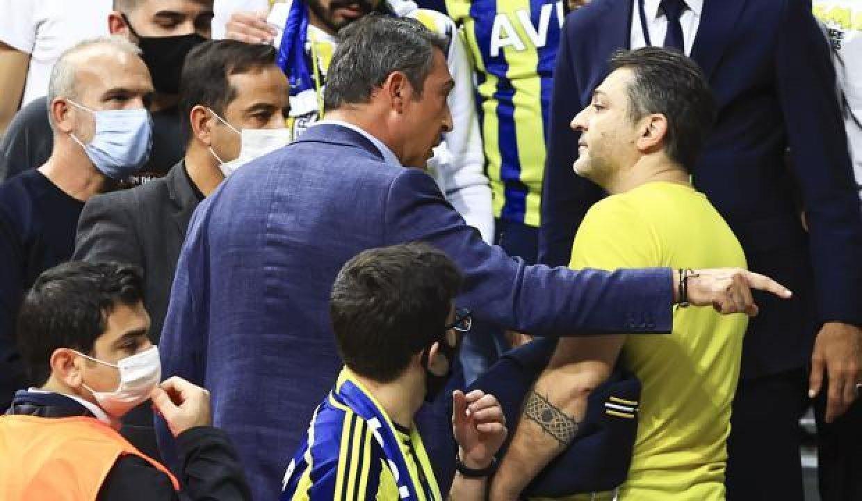 Ali Koç'la takımı protesto eden taraftar arasında gerginlik!