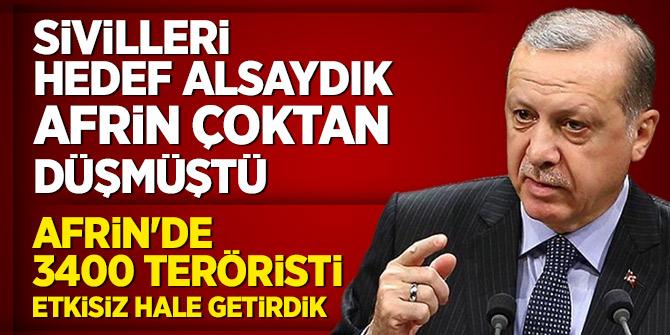 Cumhurbaşkanı Erdoğan: Şu an itibarıyla 3400 teröristi etkisiz hale getirdi
