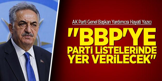 """""""BBP'ye parti listelerinde yer verilecek"""""""