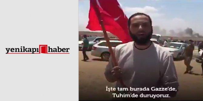 """Gazze'de Türk bayrağıyla çağrı yaptı! """"Sizi bekliyoruz"""""""