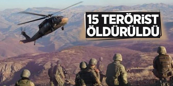 15 terörist öldürüldü
