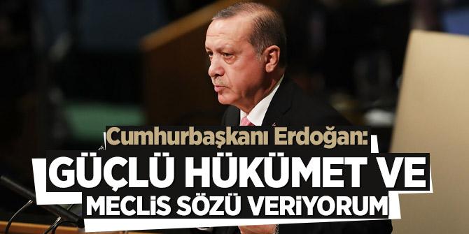 Cumhurbaşkanı Erdoğan: Güçlü hükümet ve Meclis sözü veriyorum
