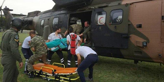 Hava ambulansı ve askeri helikopter hastalar için havalandı