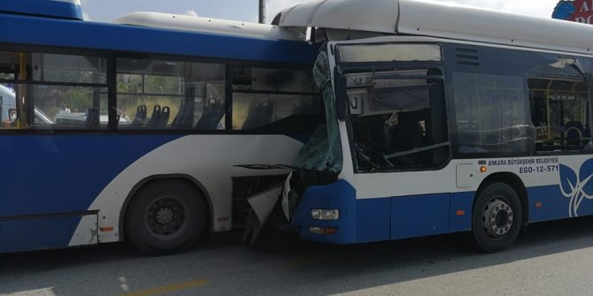Belediye otobüsleri çarpıştı! 1 ölü