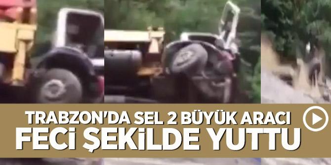 Trabzon'da sel 2 büyük aracı feci şekilde yuttu!