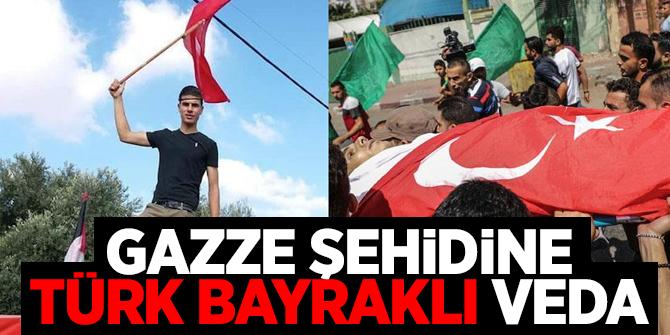 Gazze şehidi Türk bayrağıyla uğurlandı