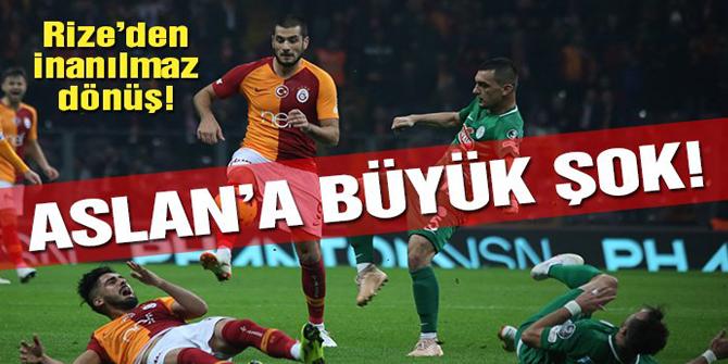 Aslan'a evinde büyük şok! Galatasaray - Rizespor 2 - 2 maç özeti ve golleri izle