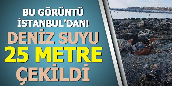 Bu görüntü İstanbul'dan... Deniz suyu 25 metre çekildi