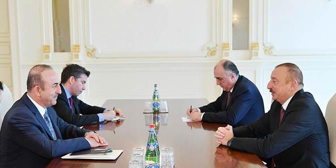 Çavuşoğlu Azerbaycan Cumhurbaşkanı Aliyev ile bir araya geldi