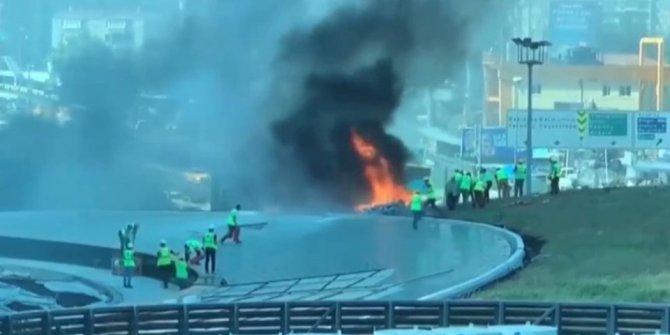 Zincirlikuyu'da inşaat halindeki binada yangın!