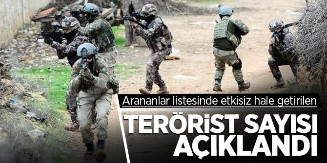 Arananlar listesinde etkisiz hale getirilen terörist sayısı açıklandı