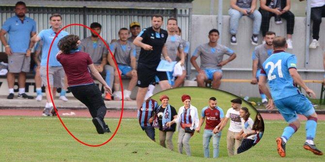 Trabzonsporlu taraftar sahaya girip rakip oyuncuyu kovaladı