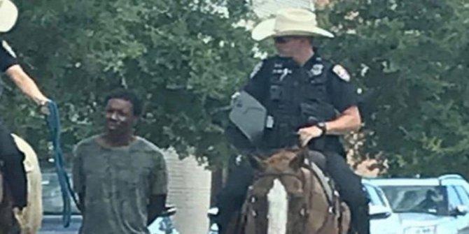 Vahşi Batı! ABD polisi ata bağlayıp gezdirdi