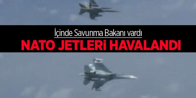 İçinde Savunma Bakanı vardı! NATO jetleri yıldırım gibi havalandı