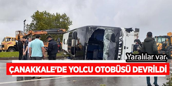 Çanakkale'de yolcu otobüsü devrildi! İlk görüntüler