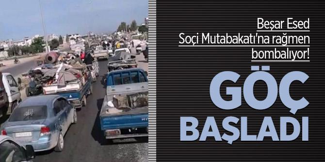 Esed Soçi Mutabakatı'na rağmen bombalıyor! Göç başladı