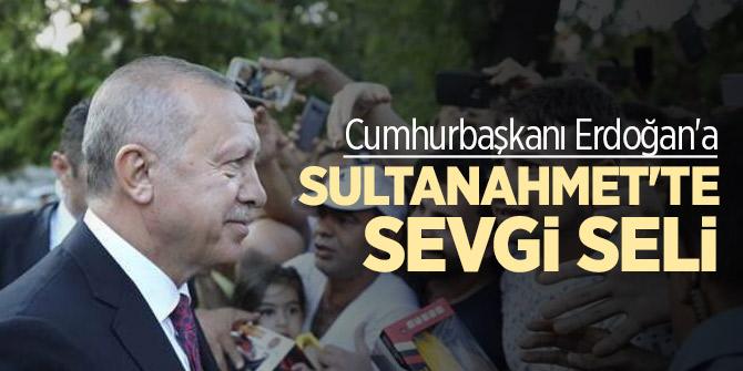 Cumhurbaşkanı Erdoğan'a Sultanahmet'te sevgi seli
