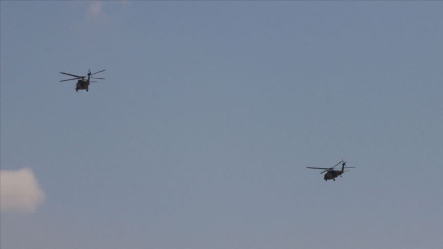 Fırat'ın doğusunda Türk ve ABD helikopterleri havalandı