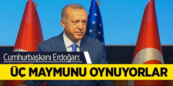 Cumhurbaşkanı Erdoğan:  Üç maymunu oynuyorlar