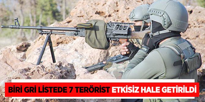 Bakanlık duyurdu: Biri gri listede 7 terörist etkisiz hale getirildi