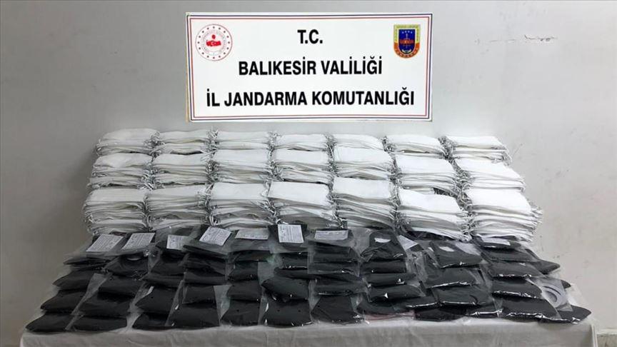 Balıkesir'de kaçak üretilen 9 bin 850 maske ele geçirildi