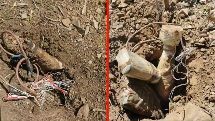 Hakkari'de terör örgütü PKK'ya ait 20 el yapımı patlayıcı imha edildi